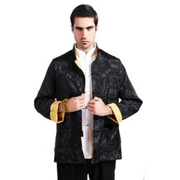 Chinese Collar Jackets Australia - Top Fashion Chinese Men Silk Satin Reversible Jacket Spring Autumn Two Sided Coat Tang Suit Overcoat Size M L XL XXL XXXL MS117