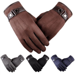 Thick Leather Gloves Australia - Classic Men Autum Winter Suede Leather Gloves Mittens Driving Cashmere Thick Warm Fleece Lined Thermal Male Glove
