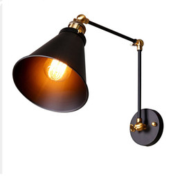 swing arm sconce lighting UK - Vintage Industrial Wall Lamp Loft Creative Swing Arm Sconce Balcony Stair Porch Restaurant Bar Bedroom Wall Light Home Light E27
