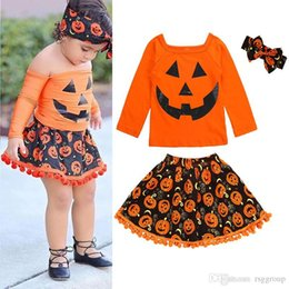 $enCountryForm.capitalKeyWord Australia - Halloween INS New Little Girls Suits Autumn Long Sleeve Tees + Ruffles Skirts + Hairband 3Pieces Set Tassel Kids Clothing Sets 2-6T