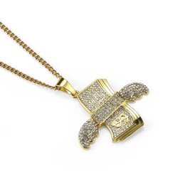 Discount dollar jewelry - Fashion Mens Iced Out Jewelry Custom Dollar Pendant Hip Hop Necklace AAA Rhinestone Stainless Steel 18K Gold Plated Chai