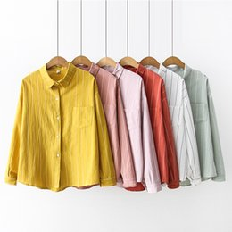 db9d9125b05633 2019 Spring Summer Fashion Female Long Sleeve Loose Cotton Linen Striped Shirts  Women Blouses Office Lady Casual Tops Blusas Y190510