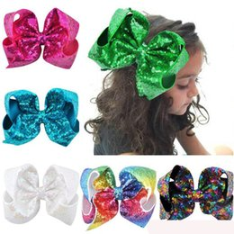 large alligator hair clips NZ - 8 inch Big Rainbow Large Hair Bow Sequins Ribbon Hairgrips With Alligator Clips Headwear Bowknot Girls Hair Accessories