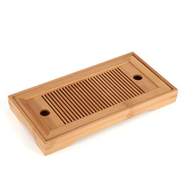 Wholesale Bamboo Tea Trays Kung Fu Tea Accessories Tray Table With Drain Rack 27x14x3cm Chinese Tea Serving Tray Set
