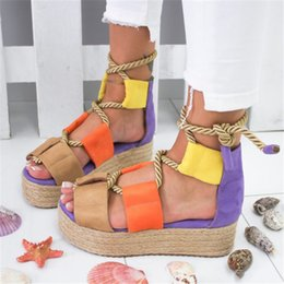 $enCountryForm.capitalKeyWord Australia - Women Casual Sandals color matching personality with thick with high-heeled ladies large size sandals fashion outdoor beach Women shoes