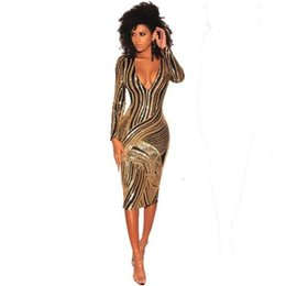848cbfd2388 Fashion Sequins Dress Women Slim Long Sleeve V-neck Sexy Dress Temperament  Women Clothing Club Party Black Gold Sequins Dresses