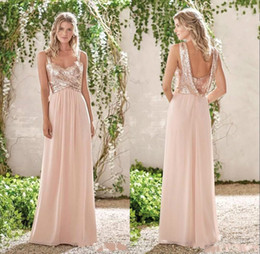 rose bridesmaids dresses 2020 - Rose Gold Sequins Bridesmaid Dresses A Line Spaghetti Backless Chiffon Cheap Long Beach Wedding Guest Bridesmaids Dress