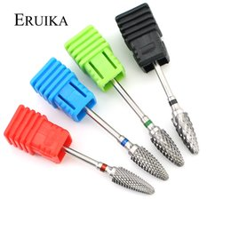 "rotary drill bits UK - ail Art Equipment ERUIKA 4 Size Tungsten Carbide Nail Drill Bit 3 32"" Rotary Milling Cutters Bits for Manicure Drill Accessories Gel Rem..."