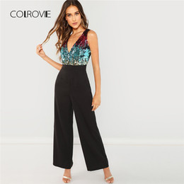 Black Blocks Australia - Colrovie Black Bodice Color Block Wrap Elegant Sequin Jumpsuit Women Sleeveless Office Overalls Female Sexy Jumpsuits Q190508