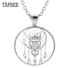 $enCountryForm.capitalKeyWord NZ - TAFREE Dream Catcher & Owl Pendants Necklaces New Creative Black And White Art Pattern Glass Cabochon Dome Handmade Jewelry DH54