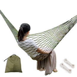 $enCountryForm.capitalKeyWord Australia - Thicker Mesh Nylon Hammock Portable For Camping Beach Outdoor Leisure Hanging Bed Swing Chair Furniture blue green hamac