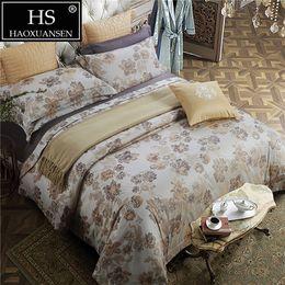 Chinese Jacquard Bedding NZ - 100 Percent Cotton Yarn Dyed Jacquard Classic Chinese Brush Painting Chrysanthemum 4Pcs Bedding Sheets Pillowcase Duvet Cover