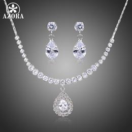 $enCountryForm.capitalKeyWord NZ - AZORA Nigerian Water Drop Cubic Zirconia Wedding Jewelry Set inlay Luxury Crystal Bridal Jewelry Set Gift For Bridesmaids TG0267
