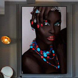 $enCountryForm.capitalKeyWord Australia - Black Nude African Sexy Woman Lips and Nails Canvas Painting Posters and Prints Scandinavian Wall Art Picture No Framed