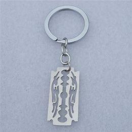 $enCountryForm.capitalKeyWord UK - Razor Blade Keychain Grey Silver Polished Stainless Steel Gothic Punk Emo Men Gift Jewelry Keyring 12 Pieces Wholesale