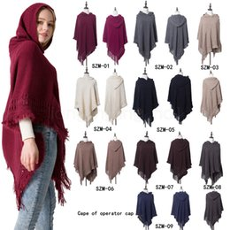 Wholesale sweater shawl scarf resale online - 11styles Winter Knit Large Shawls solid Charm Tassel Blankets Cape Casual Lady Sweater With operator Hat coat Blankets FFA2917