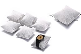 Discount grey velvet display - 5pcs Velvet & Cotton Bracelet Bangle Watch Pillow Holder For Jewelry Watches Case Box Jewelry Packaging & Display