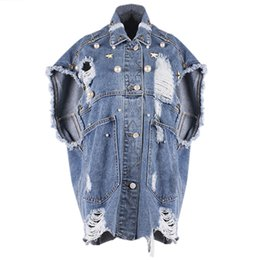 China Daily Apparel Women 2018 Spring Fashion Casual Jacket Coat Cardigan Chic Rivet Beading Cut Out Denim Jean Sleeveless Vest cheap denim sleeveless cardigan suppliers
