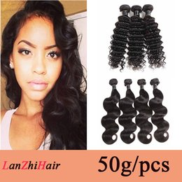 indian human hair extensions cheap Canada - Brazilian Deep Wave Virgin Human Hair Weave Bundles 50g pcs Cheap Indian Malaysian Cambodian Peruvian Human Hair Extensions Body Wave