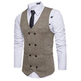 99a9a2b7fcfe6d Neue braune zweireihige Weste Anzug Herren Westen gestreifte Slim Fit Weste  British Vintage Blazer ärmellose Jacke S-XXL