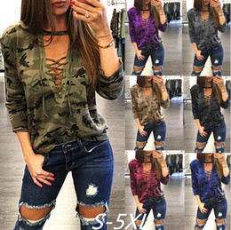 $enCountryForm.capitalKeyWord Australia - Women Clothes Autumn Loose T shirt pullover Deep V-neck Top Long Sleeve Geometry Ladies Camouflage Casual T-Shirts S-5XL