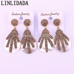$enCountryForm.capitalKeyWord Australia - 5Pair Wholesale New Arrival Nature Shell Earrings for Women Drop Dangle Earrings Paved with Rhinestone