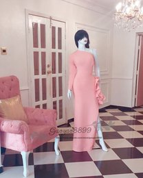 Long one shouLder bLush dress online shopping - 2019 Elegant blush pink sheath evening dresses long sleeves one shoulder Fashion ruffles split arabic african formal celebrity prom gowns