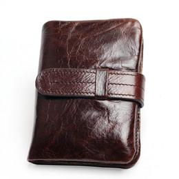 $enCountryForm.capitalKeyWord UK - Vintage Casual 100% Real Genuine Cowhide Oil Wax Leather Men Short Bifold Wallet Wallets Purse Coin Pocket Male Zipper