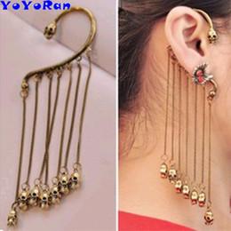Indian Ear Chain Australia - Wholesale 12pcs antique skeleton head tassel chain ear hang cuff clip earring for man woman metal skull punk ear hook jewelry gift