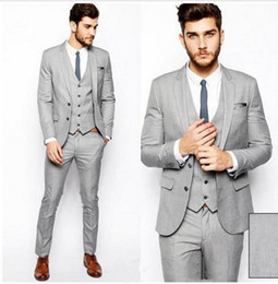 light grey suit black tie Australia - 2019 Light Grey Groom Tuxedos Custom Made Groomsmen Back Vent Best Man Suit Wedding Men Suits Bridegroom (Jacket+Pants+Vest+Tie)