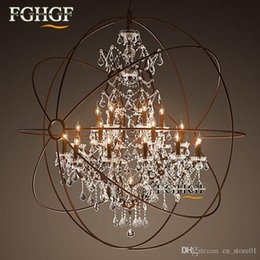 $enCountryForm.capitalKeyWord Australia - Modern Vintage Orb Crystal Chandelier Lighting Rustic Candle Chandeliers LED Pendant Hanging Light for Home Hotel Decoration