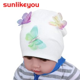cotton baby girl bonnets NZ - New Product Baby Girl Hat For Kids Newborn Boy Caps Cotton Soft Toddler Spring Butterfly Beanie Bonnet Warm Baby Hat