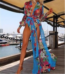 Long swimwear womens online shopping - 10pcs Sexy womens swimsuits beach cover ups dresses swimwear one piece printed swimsuits irregular dress M470