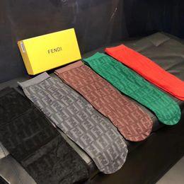 $enCountryForm.capitalKeyWord Australia - New Fashionable F Letter Socks Tall Thin Translucent Leg Socks Female High Quality Luxury Stockings Multi Color Optional