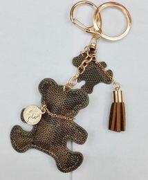 Keychains bears online shopping - 3 colors bear Key Chain Accessories Tassel Key Ring PU Leather Bear Pattern Car Keychain Jewelry Bag Charm