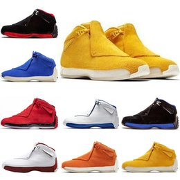 spring orange NZ - 3A quality Jumpman 18 18ss OG XVIII Mens Yellow Suede Shoes Orange Toro Bred blue Royal Black white Athletic Sports Sneakers trainers 7-13