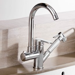 Pull Out Handle Australia - Kitchen Faucet 360 Degree Swivel Pull Out With Spray Kitchen Sink Faucets Single Handle Chrome Brass Mixer Tap