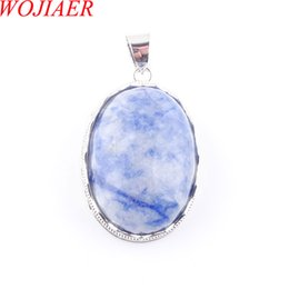 egg gifts Australia - WOJIAER Love Summer Egg Shape Decoration Blue-veins Stone Statement Suspension Charms Pendant Female Gift 18 Inches DN3678