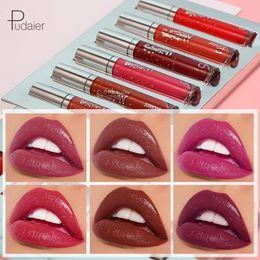 $enCountryForm.capitalKeyWord NZ - Pudaier 6Pcs set Liquid Lipstick LipGloss Long Lasting Natural Easy To Wear Lip Stick Makeup Waterproof Lip Tint Lipstick Batom