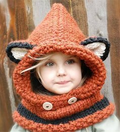 knitted fox scarf NZ - New Coif 3D Animal Hat Ear Knitted Caps Fox Headwear Winter Scarf Boy Girl Hats Children Warm Knitted Hooded Scarf Cap Kid Gifts