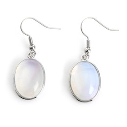 vintage swing Australia - 19x14mm Vintage Oval Synthetic Opal Moonstone Swings Retro Dangle Earrings Christmas Gift Jewelry Accessories New