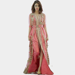 Wholesale make even clothes resale online – 2019 New pink dress Morocco Turkey robes high quality long sleeve clothes fabric in dubai islamic robes evening dresses Vestido De Festa