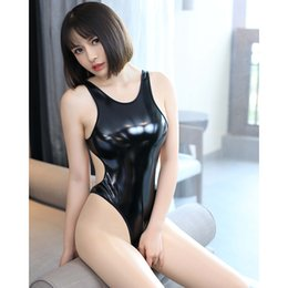 $enCountryForm.capitalKeyWord Australia - Japanese School Women Sexy Catsuit Hot Erotic Zentai Lingerie Fetisch One-piece Patent Leather Slim Unitard Bodysuit Black