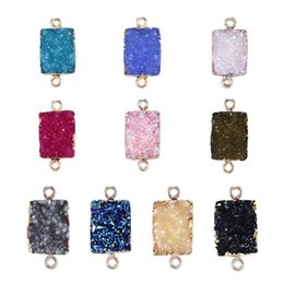 wholesale crystal ore NZ - 10Colors Imitation Ore Rectangle Resin Druzy Crystal Druse Stone Pendant Charms Necklaces Bracelet Earring DIY Making Jewelry Accessory