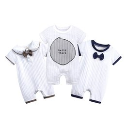Toddlers Ties online shopping - Baby Stripe Romper Toddler kids Boy Girl Bows Tie Short Sleeve Rompers Summer Letters Printed Shorts Jumpsuits Fashion Children clothing