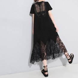 $enCountryForm.capitalKeyWord Australia - Gothic Black Lace Hollow Shirt Dress Women 2019 Solid Pullover Angel Wings High Street Simple Girls Fashion Casual Midi Dresses T4190614
