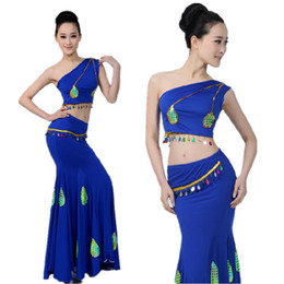 $enCountryForm.capitalKeyWord Australia - Oriental Chinese Thailand Style Woman Belly Dance Costumes Shoulder Off Vest Mermaid Tail Skirt Set Peacock Team Performance
