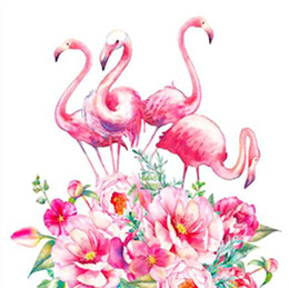 $enCountryForm.capitalKeyWord Australia - 5D DIY Pink Flamingo Mosaic Diamond Painting Cross Embroidery Set Diamond Embroidery Block Diamond Home Decoration Wall Art