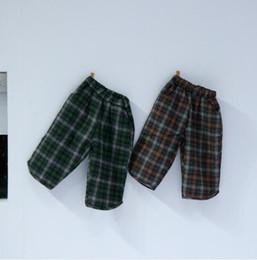 Korea girl legs online shopping - 2019 Korea style girls boys plaid thicken pants autumn winter fashion kids pants t HH615