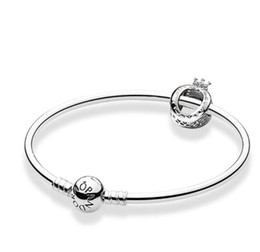 pandora silver charms sale Canada - valentine gifts sale Pandora crown O moment charm bracelets 925 sterling silver jewellery full with original box